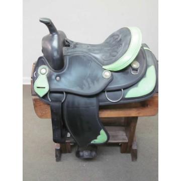 """Weaver Lime Green & Black 14"""" Barrel Saddle"""