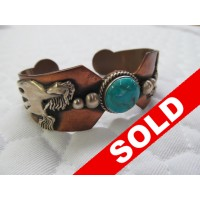 Copper, Sterling, & Turquoise Horse Cuff Bracelet