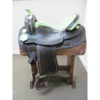 "Black & Lime Green 17"" Western Draft Horse Saddle"